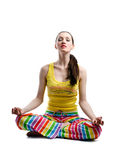 Lotus pose. Beauty girl sitting in a lotus pose stock photo