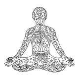 Lotus Pose con le mani di mudra, posizione di posizione di yoga, disegnata a mano Fotografia Stock