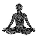 Lotus Pose met mudrahanden, de houding van de yogapositie, getrokken hand royalty-vrije illustratie