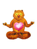 Lotus Pose Yoga, watercolor painting, chakra power, cute big bear Stock Photos