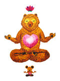 Lotus Pose Yoga, watercolor painting, chakra power, cute big bear Stock Images