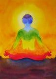 Lotus poserar yoga med mudrahanden, vattenfärgmålning i soluppgång, Arkivbild