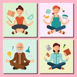 Lotus position yoga pose meditation art relax people relax cards design concept character happiness vector illustration. Stock Photos