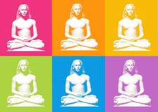 Lotus posture. Otus yoga posture - computer generated clipart Stock Image