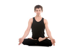 Lotus posture with fingers in yogic gesture Chin Mudra Royalty Free Stock Images
