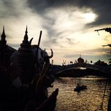 Lotus Receiving Festival - Tradition von lokalen Leuten in Samutprakran in Samutprakran, Thailand Stockfoto