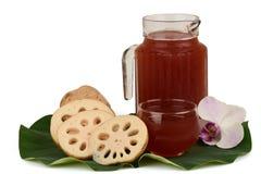 Lotus Root Juice. Lotus Root Juice, Nelumbo nucifera Gaertn, contain flavones carotenoids, polyphenols Final Four. Help in the fight against cancer, vitamins Stock Photo