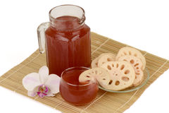 Lotus Root Juice. Lotus Root Juice, Nelumbo nucifera Gaertn, contain flavones carotenoids, polyphenols Final Four. Help in the fight against cancer, vitamins Royalty Free Stock Photo