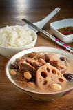 Lotus Root Soup. And bowl of rice in background Stock Photos