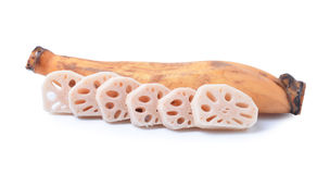 Lotus root on the white background Royalty Free Stock Photography