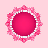 Lotus Round Frame with Pearl Necklace Royalty Free Stock Images