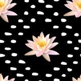 Lotus sömlös modell på svart bakgrund med prickar Arkivbilder