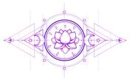 Lotus and Sacred Geometry. Ayurveda symbol of harmony and balance, and universe. Tattoo flesh design, yoga logo. Boho print, post stock illustration