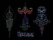 Lotus and Sacred Geometry. Unamole hindu symbol of wisdom and pa. Th to perfection. Set of tattoo flesh, yoga logo. Boho oriental print, poster, t-shirt textile royalty free illustration