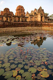 Lotus and sandstone castle. Lotus in a pool in front of sandstone castle at historical park, Thailand stock images