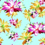 Lotus Scattered Floral Print i Multicolour vektor illustrationer