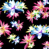 Lotus Scattered Floral Print i Multicolour stock illustrationer