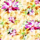 Lotus Scattered Floral Print in Mehrfarben stock abbildung