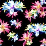 Lotus Scattered Floral Print in multicolore illustrazione di stock