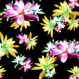 Lotus Scattered Floral Print in Multicolour. Seamless pattern in repeat royalty free stock photos