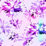 Lotus Scattered Floral Print in Multicolour. Seamless pattern in repeat stock images