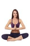 Lotus se reposant méditant de yoga aucasian de femme de ¡ de Ð, d'isolement sur le petit morceau Image libre de droits