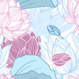 Lotus seamless pattern. Gentle lotus flowers seamless pattern vector illustration stock illustration