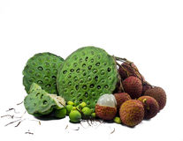 Lotus seeds and lychee Royalty Free Stock Photos