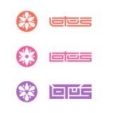 Lotus - set of vector logo templates with stylized flower. Origi Royalty Free Stock Photos
