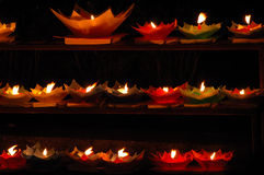 Lotus shaped candles. The lotus-shaped candles at night Royalty Free Stock Photography