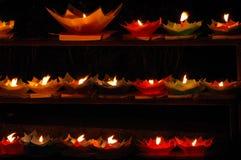 Lotus shaped candles. The lotus-shaped candles at night. Photo at Lijiang, Yunnan province China Royalty Free Stock Photography