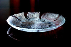 Lotus shaped glass tray Royalty Free Stock Photos