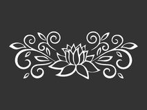 Lotus sketch. Plant motif. Flower design elements. Vector illustration. Elegant flower outline design. Gray symbol isolated on whi Stock Image