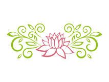Lotus sketch. Plant motif. Flower design elements. Vector illustration. Elegant flower outline design. Symbol isolated on white ba Royalty Free Stock Image