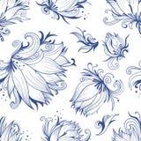Lotus Sketch Vector Pattern Photo stock