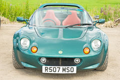 Lotus sports car seen at Rally in Inverness. An image of a green  Lotus open top sports car at  the Rally which took place at Bogbain Farm on 2nd and 3rd July Royalty Free Stock Photos