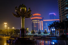 Lotus square with bronze flower the independence symbol of Macau stock images