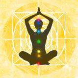 Lotus stellen en de chakrapunten Stock Afbeeldingen