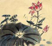 The lotus symbol of eternity. Flowering lotus painted in Chinese style Stock Photos
