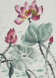 The lotus symbol of eternity. Flowering lotus painted in Chinese style Royalty Free Stock Image