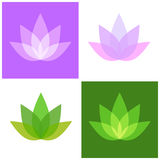 Lotus Symbol Icons Set Yoga et logo de station thermale Vecteur Photographie stock
