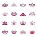 Lotus-Symbolikonen Vektorblumenaufkleber für Wellnessindustrie Lizenzfreie Stockbilder