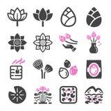 Lotus symbolsuppsättning royaltyfri illustrationer