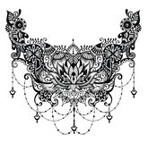 Lotus tattoo. Template for tattoo design with mehndi elements Stock Images
