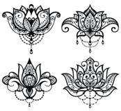 Lotus tatueringuppsättning vektor illustrationer