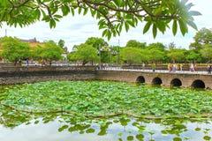 Lotus-Teich in der Verbotenen Stadt der Farbe Stockfoto