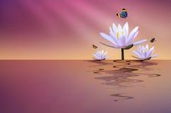 Lotus-Teich mit Schmetterling Stockfoto