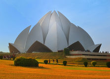 Lotus temple. In Delhi, India, on a sunny day stock photography