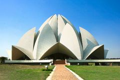 Lotus Temple against blue sky stock photos
