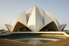 Lotus temple in the evening sky. Delhi, india royalty free stock images